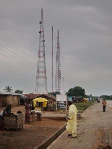 Three cell phone towers in village