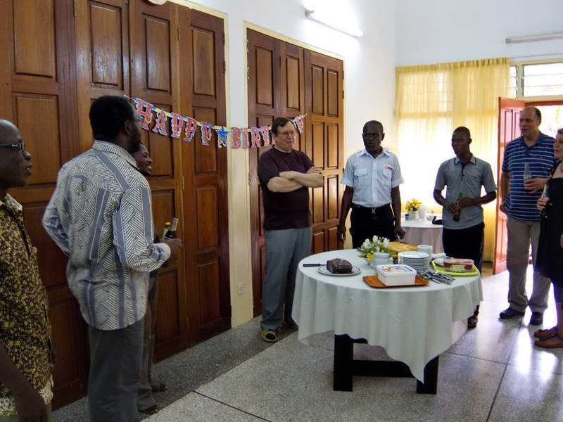 Colleagues singing Happy Birthday, Ghana Syle
