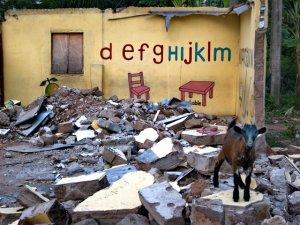 Kid (goat) in demolished school