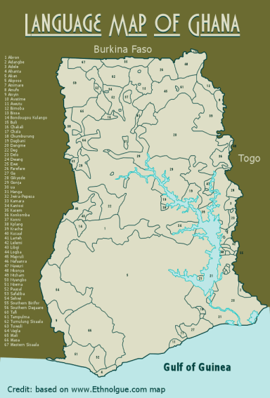 Langauge Map of Ghana