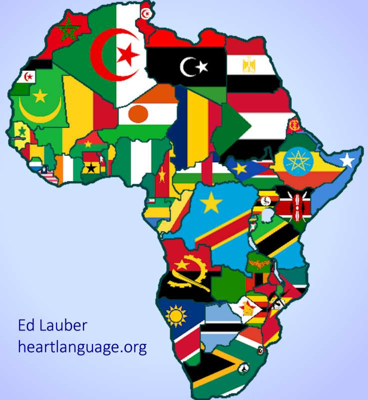 Flag map of Africa | Heart Language