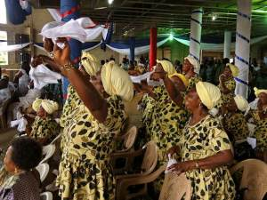 Ladies' choir dancinng with handkerchiefs