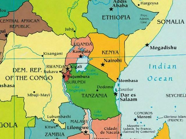 africa map showing rwanda
