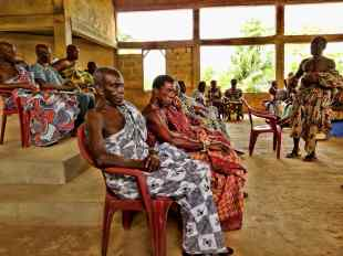 Traditional leaders for the Siwu people in Ghana wearing cloth in their traditional way