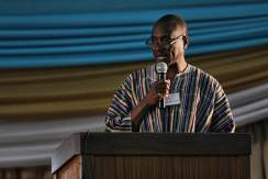 Dr. Solomon Sule-Saa presenting a summary of his research to September conference