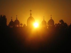 Sunrise over orthodox church_1