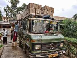 Bus loaded with boxes of New Testaments destined for a remote area of Ghana