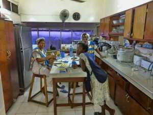 Kitchen staff at the guest house