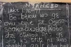 The very first translation in the Nyangbo language, written on a blackboard