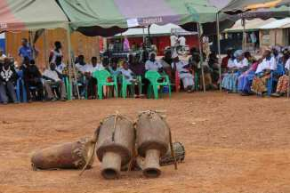 Drums, the key instrument in traditional Sisaala music, stayed i