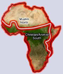 Christian and Islamic zones in Africa - Map