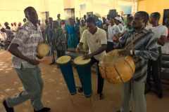 Drummers from northern Ghana provide accompaniment to the worship of northern Ghanaians in a town in southern Ghana