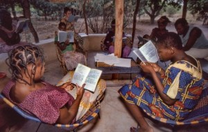 Ladies reading a new translation to see if it communicates