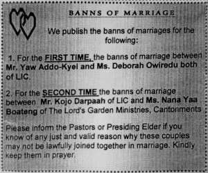 Announcement in a church bulletin