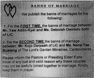 Announcement in a church bulletin