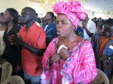 Worship at a church in Bunia