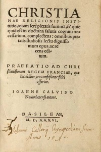 Title page to Latin edition of Calvin's Institutes
