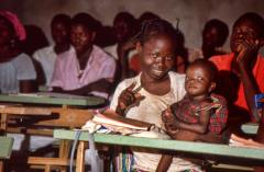 Young woman in literacy class in Burkina Faso