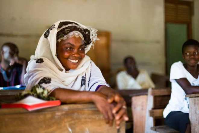 Ghanaian woman in literacy class. Photo Rodney Ballard