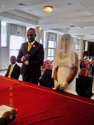 The couple stating their agreement with the marriage laws